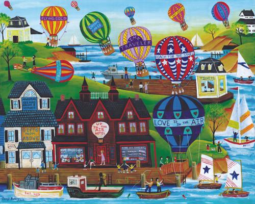 Hot Air Ballon seaside Village Original Folk Art painting