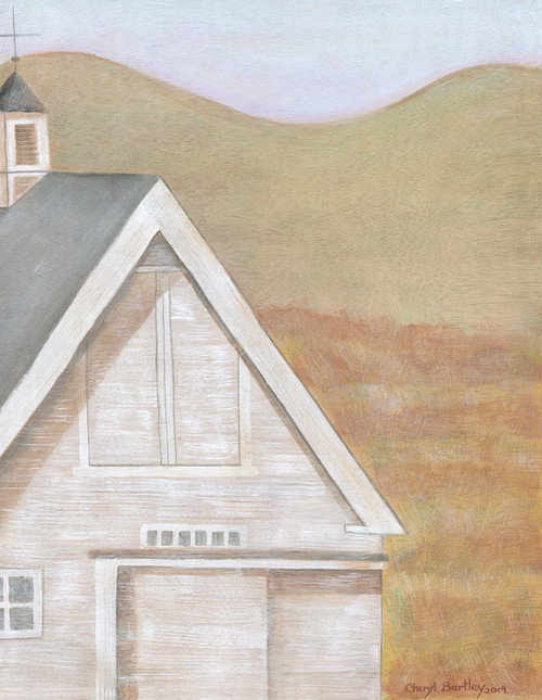 Original Folk Art White Farmhouse Barn acrylic on Wood Panel
