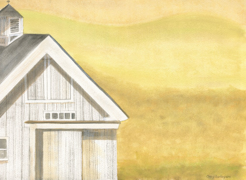 Original Folk Art Watercolor Painting White Farmhouse Barn Golden Yellow Field