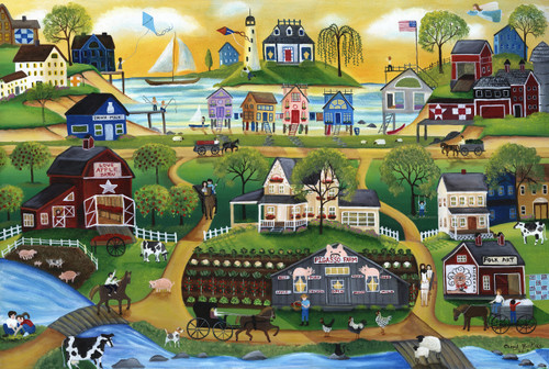 Pigasso Folk Art Farm Village by the Sea Painting SOLD