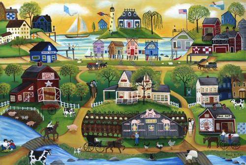 Pigasso Folk Art Farm Village by the Sea Painting