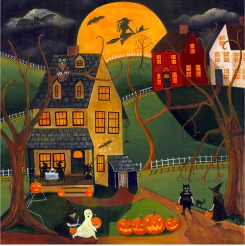 Halloween Witch Harvest Moon Print 11x14