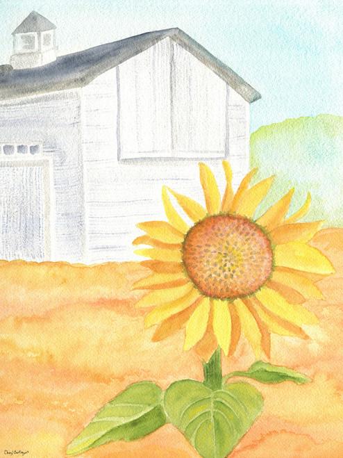 Original Watercolor Folk Art Painting White Barn Sunflower Field