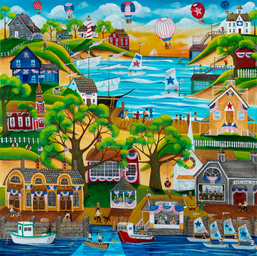 4th of July Seaside Celebration Original Folk Art Painting