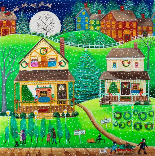 Christmas Tree Farm First Snow Day Original Folk Art Painting
