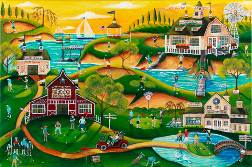 Red Barn Hills Golf Resort Original Folk Art Painting