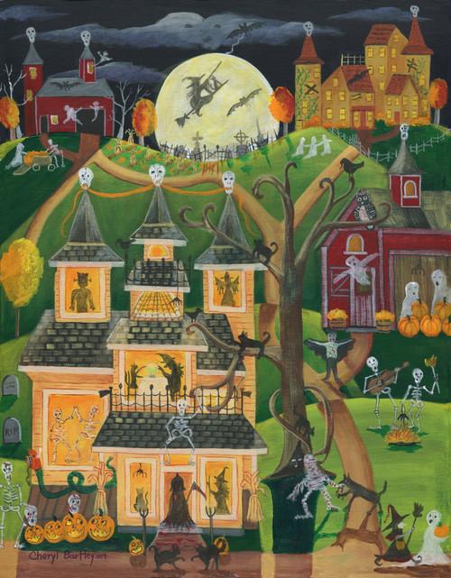 Halloween Skulls Howl and Skeletons Prowl original Folk Art Painting