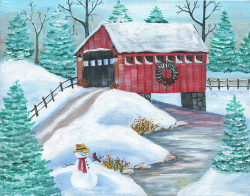 Wintertime Covered Bridge with Snowman Acrylic Folk Art Painting SOLD