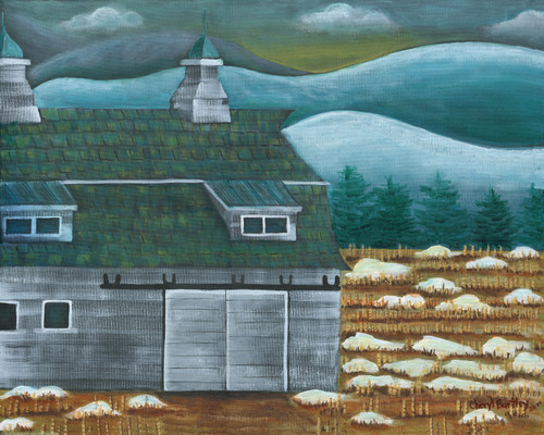 Berkshire Barn Last Snow Original Folk Art Painting