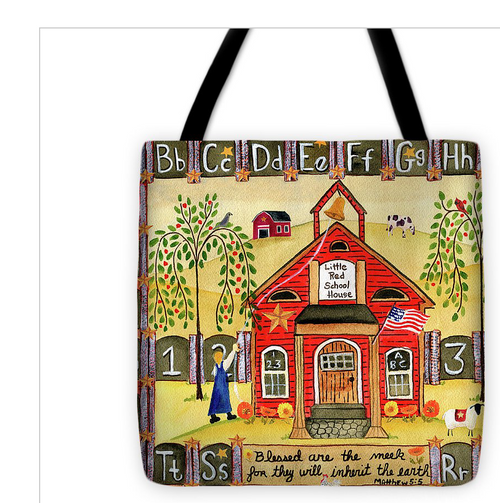 Little Red School House Tote Bag 18x18
