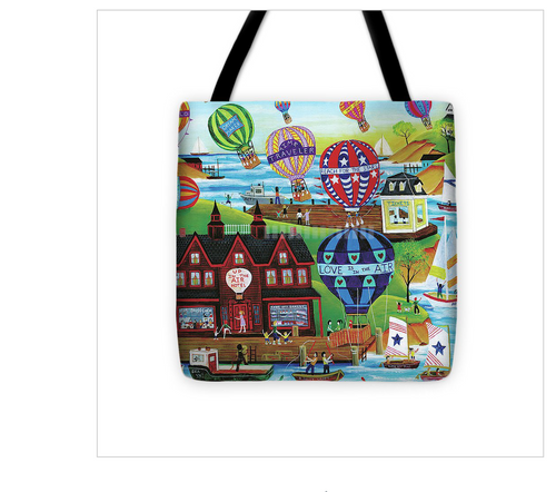 Hot Air Ballon Tote Bag 18x18