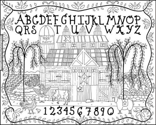 Country Barn Sampler FREE Coloring Craft Download