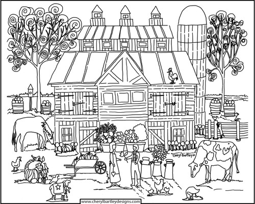 Country Harvest Barn FREE Coloring Craft Page