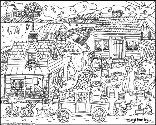 Country Tag Sale FREE Coloring Craft Outline