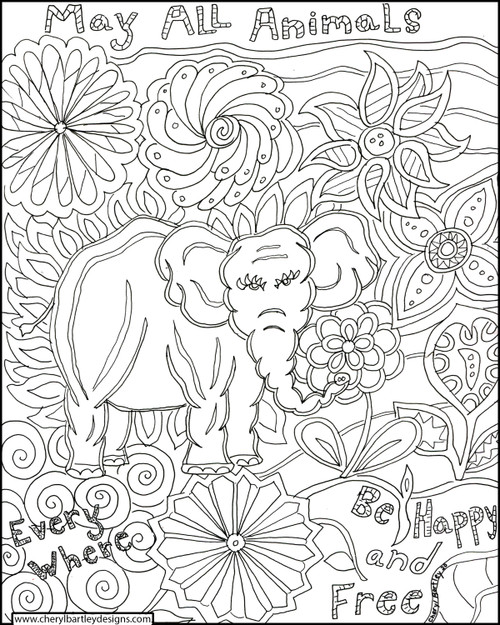 Happy Elephant FREE Coloring Craft Page