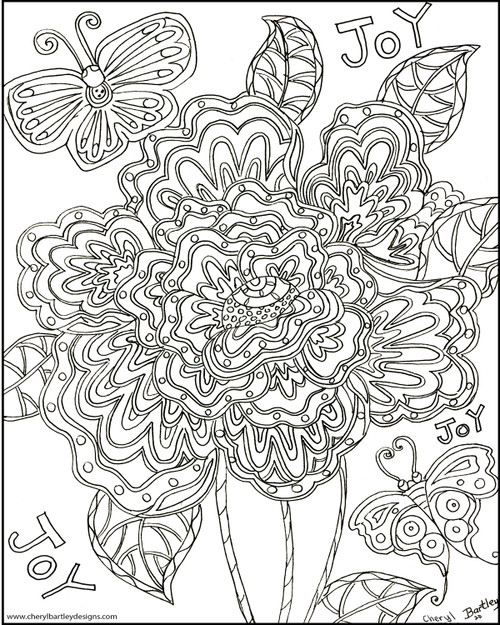Joy Butterfly Flowers FREE Coloring Craft Page