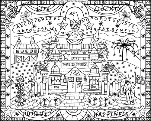 LIFE LIBERTY FREE COLORING CRAFT PAGE