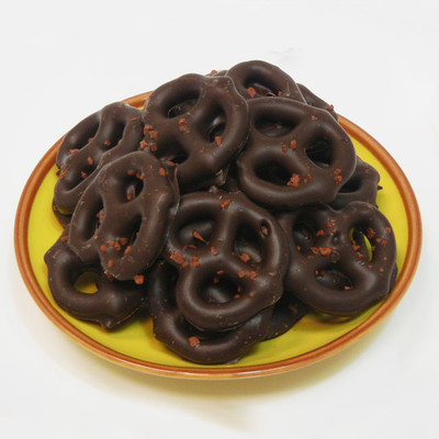 Dark Chocolate Hawaiian Red Sea Salt Pretzels:  We use only high-quality Dark Chocolate to drench crunchy mini pretzel twists. Then, while the chocolate is still soft, we sprinkle them with coarsely ground Alaea Hawaiian Red Sea Salt for a unique and pleasant combination of flavors.  This treat, has the perfect balance of sweet and salty...