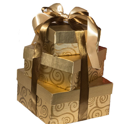 Create A Sweet Surprise Gift Tower,  A bounty of decadent chocolate treats burst from the keepsake boxes.