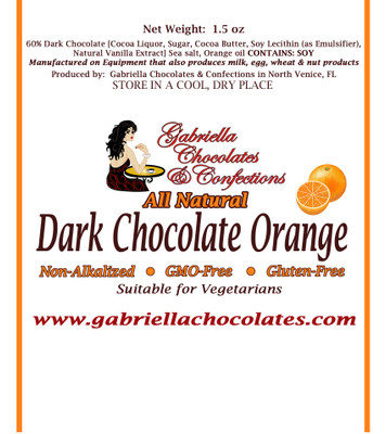 60%   Dark chocolate Orange 46 grams.)  •Gluten-Free • GMO-Free • Dark Chocolate Suitable for Vegans