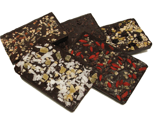 MINT & COCOA NIB CHOCOLATE BARK BAR,  GOJI BERRY & GINGER CHOCOLATE BARK BAR,  CHERRY PISTACHIO CHOCOLATE BARK BAR,  SPICY GINGER-ALMOND CHOCOLATE BARK BAR