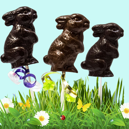 • 60% Dark Chocolate Easter Bunny (2 oz.)  • Milk Chocolate Easter Bunny (2 oz.)   •Gluten-Free • GMO-Free • Dark Chocolate Suitable for Vegans