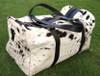 Real cow skin duffel bags in black white