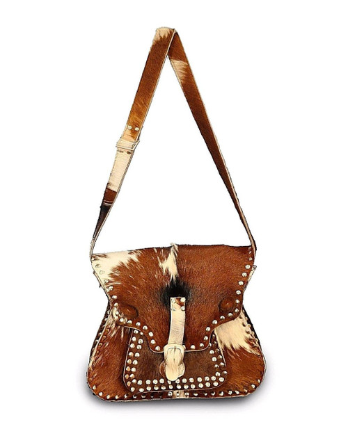 Cow Skin Cross body bag in brown and white