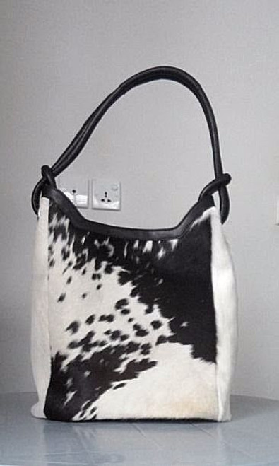 Spotted Black White Cowhide Hand Bag.