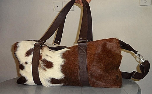 Brown And White Hair On Cowhide Hand Bag.