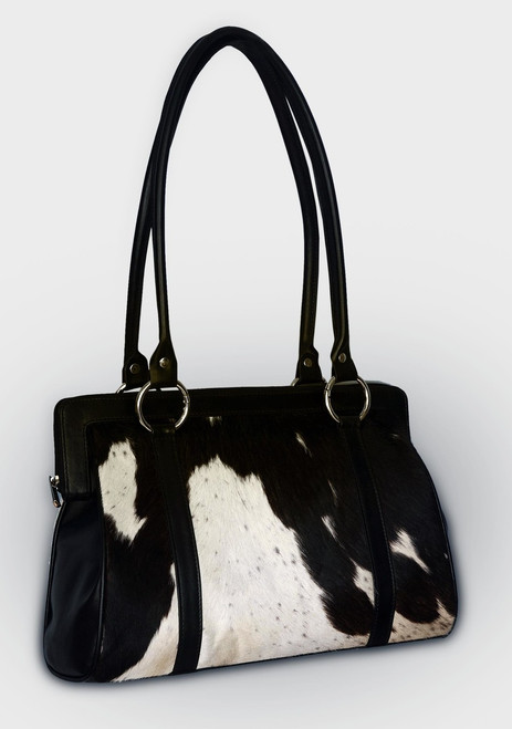 Black and White Hair On Cowhide Shoulder Bag
