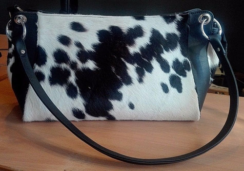 Shoulder Bag Made From Hair On Cowhide And Genuine Leather.