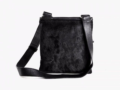 Pure Black Hair On Cowhide Shoulder Bag