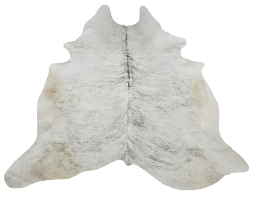 This grey cowhide rug has a slight tan and gorgeous sheen, it looks beautiful under the kitchen table or fireplace.