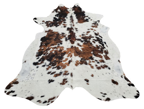 Exotic tricolor cheap cowhide rug in the best quality, mix of speckled brown, black and white and no need to put anything under a cowhide rug.