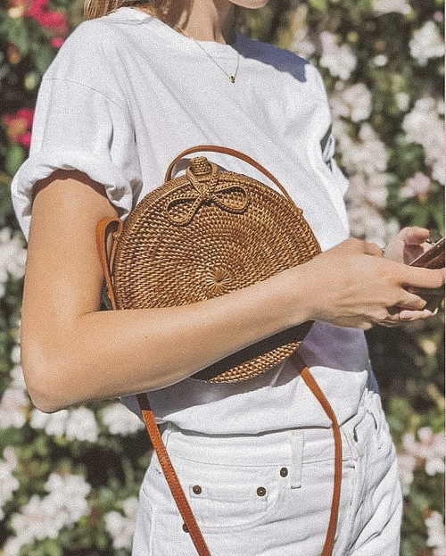 Round rattan bag etsy handwoven in Bali, real and natural straw purses