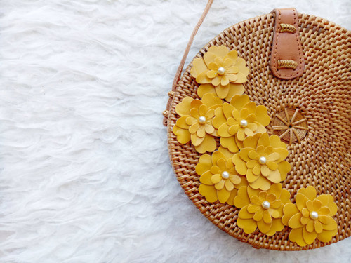 Flores Round Bag With Handmade Leather flowers