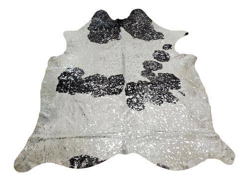 Silver Metallic On Black White Cowhide Rug 7ft x 6ft