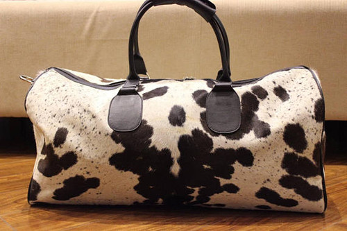 Very large and beautiful hair on cowhide bag.