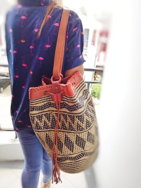 handmade straw borneo bag