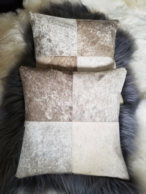Cowhide Cushion Cover Patchwork Grey White Pillow Covers 16 by 16 inches
