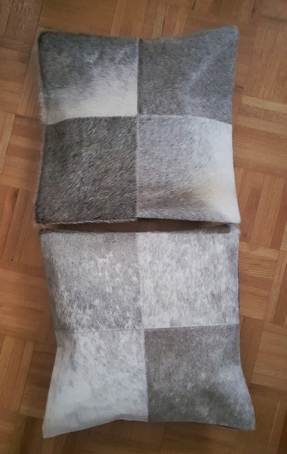 Cowhide Pillow Cover Grey White Cow Hide Patchwork Cushions 16 by 16 inches Two Covers