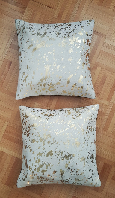 Beautiful pair of cowhide pillows in gold metallic for accent pillows on kitchen table or to add a touch of farmhouse to the modern living room.