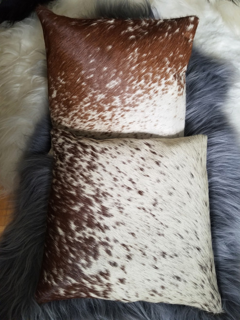 Brown White Cowhide Cushion Cover