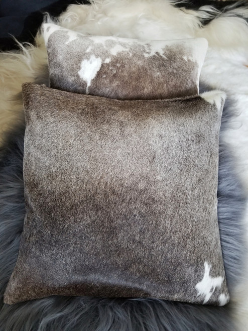 Pair of  Exotic Grey Cowhide Cushion Cover Pillow Case  16 X 16
