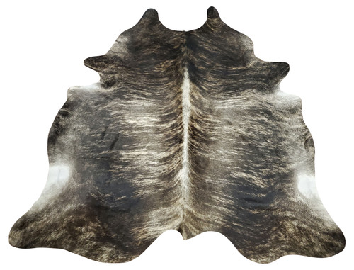 This large dark brindle cowhide rug will stun your space, the exotic grey with white spine will blend into any room and create inspiration.