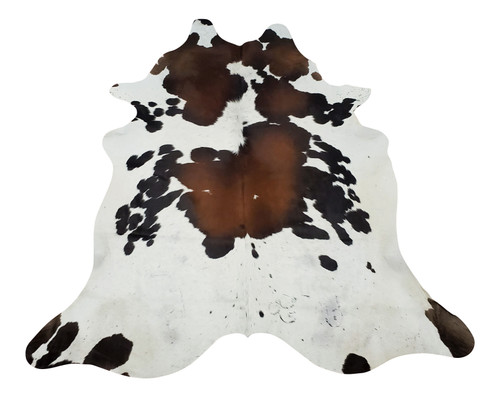Brazilian Cowhide Rug Tricolor Reddish Brown 6.8ft X 6ft