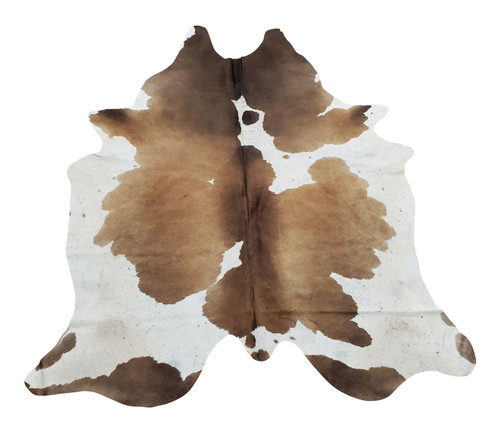 You will be pleased with the large chocolate cowhide rug a great balance of white to many shades of brown and a few black spots no odd smell or markings .