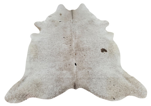 A speckled cowhide rug with some solid spot with grey and white, this is a stunning hide rug in salt and pepper.
