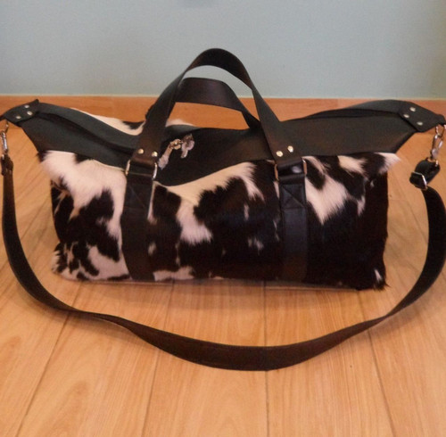 Black And White Cowhide Duffel Bag Hand made from real and premium cow hide rug usa.